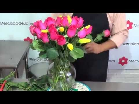 Regalar Flores Tulipanes Amarillos y Rosas Gracias Fucsia - YouTube