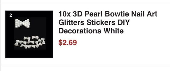 3 dimentional White bow sticker for acrylics or fake nails