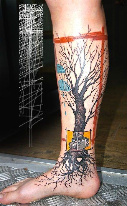 Camera | Tree | Brushstrokes | Tattoo |Peter Aurisch