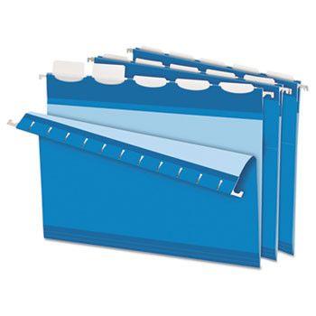 Colored Reinforced Hanging Folders, 1/5 Tab, Letter, Blue, 25/bx