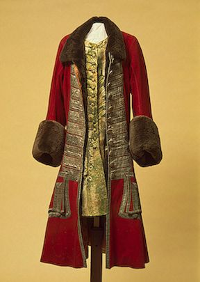 Winter Costume of Peter I  Russia (?). Between 1710 and 1725  Broadcloth, galloon, beaver fur, damask and wool; l.: caftan 119, camisole 95.5 cm (c) The State Hermitage Museum