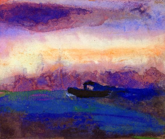 Emil Nolde, Sea with Violet-Blue Clouds and Steamer, 1946