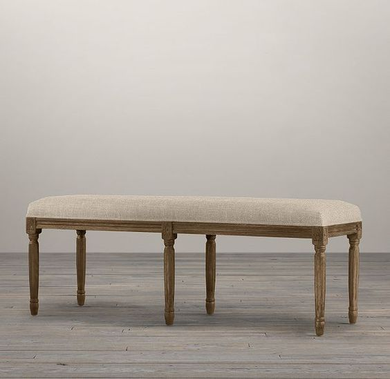 RH's Louis Bench:Designed in Louis XVI style, our bench has an air of relaxed elegance.
