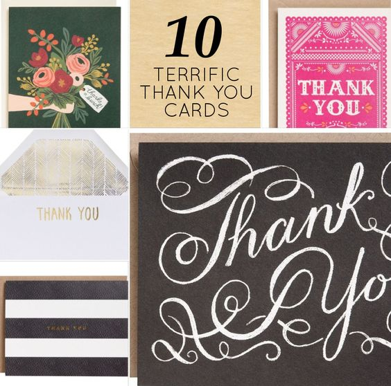 Modern Etiquette: Thank You Dos and Dont's - 10 Cute Thank You Cards from Design Sponge.