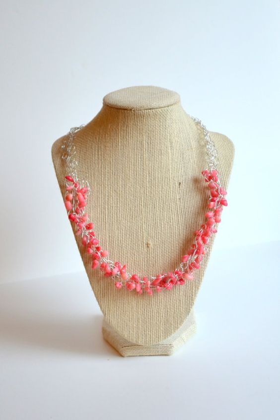 coral wire wrapped crochet necklace
