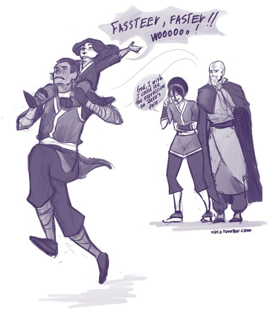Lin is definitely the boss in this picture.  And we all know that it's true. Is Sokka crying?