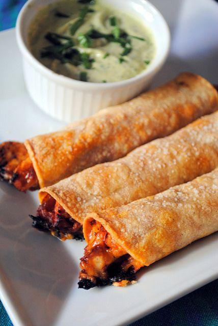 #glutenfree Barbecue Chicken Taquitos with Avocado Ranch Dip
