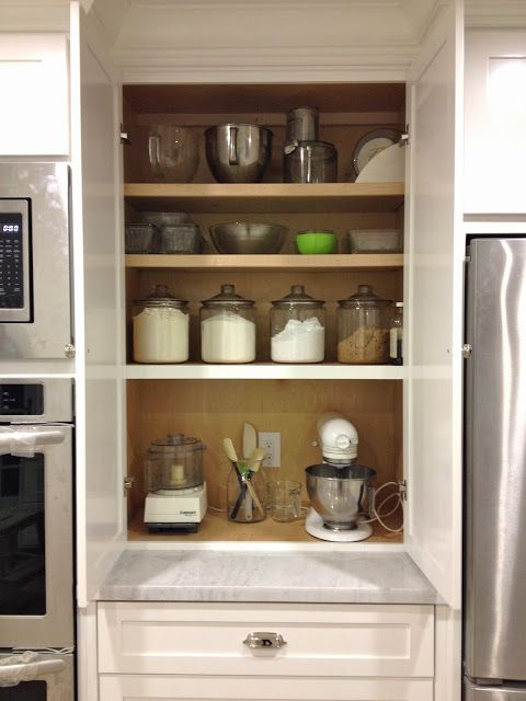 Appliance garage kitchen desks and the jar on pinterest for Small kitchen in garage