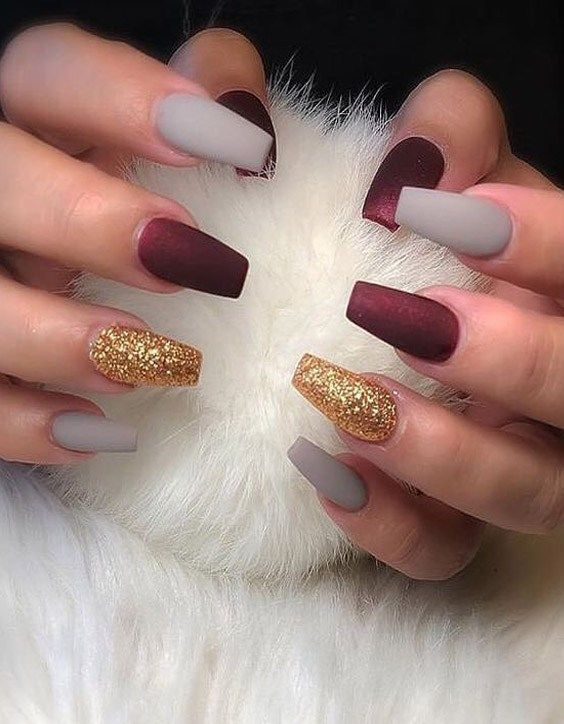 Lovely Winter Nail Colors Style For 2020 Voguetypes Fall Acrylic Nails Coffin Nails Designs Fall Nail Art Designs