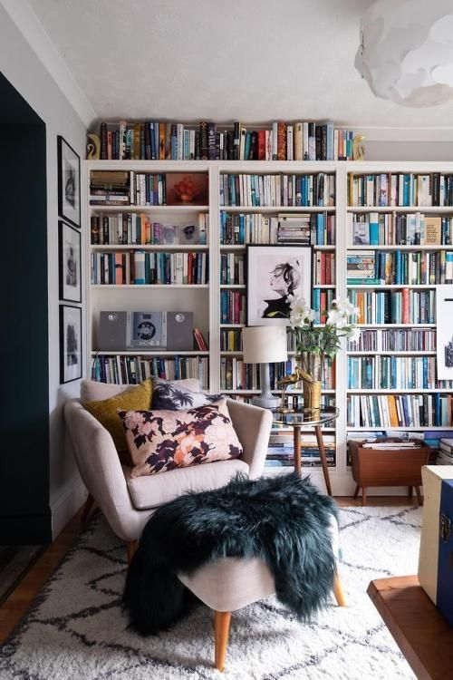 Book Filled Maximalist Home In Bristol Via Reddit There Are Cosy Living Room Living Room Diy Blue Kitchen Cabinets