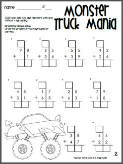 great way to hook your boys and the girls love it too monster truck double digit addition. Black Bedroom Furniture Sets. Home Design Ideas