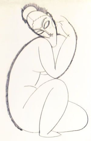 Modigliani Seated Female Nude Sketch (1913)