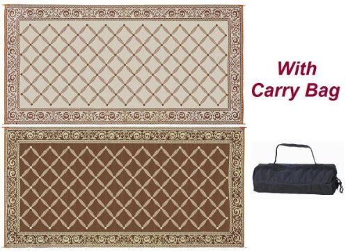 Reversible RV Patio Outdoor Mat Camping Rug with Carry Bag