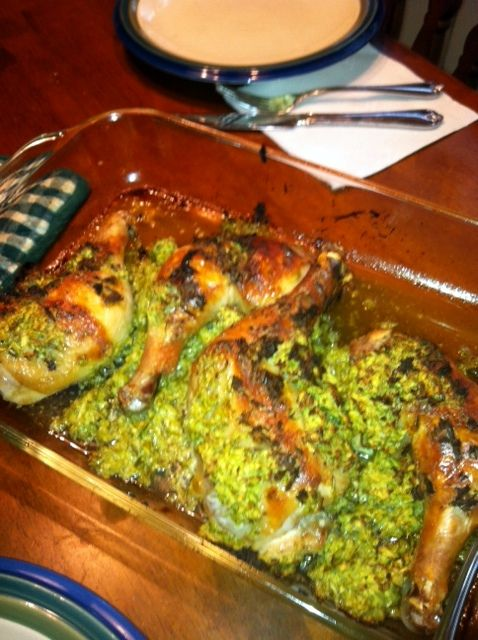 chicken with garlic scapes