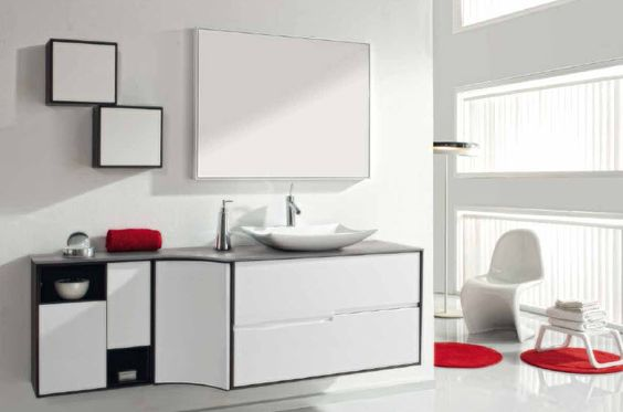 Camerino Baño Wengue:Mueble de Baño Modulo 60x100cm mixto roble wengue / blanco brillo