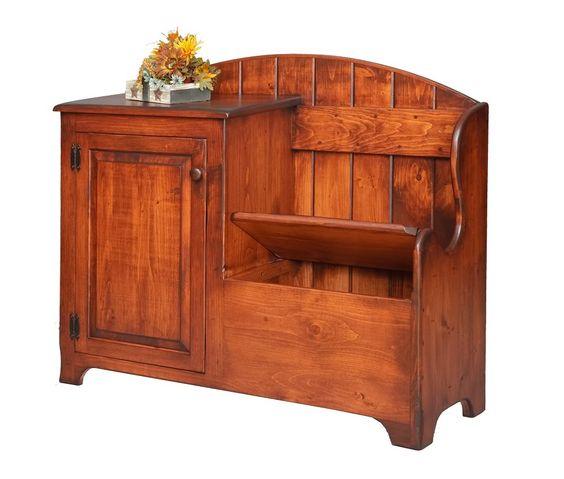Details about Primitive Deacons Storage Bench Cabinet Wood ...