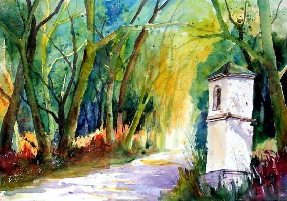 aquarell, watercolor, aquarelle, wald, forest, bois, bäume, trees, arbres, kapelle, chapel, chapelle, marterl, akazie, retzbach