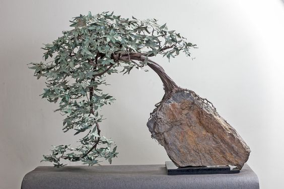 """Copper Japanese Maple Bonsai 39""""wide x 26""""tall x 21.5"""" deep 50 lbs Bonsai tree constructed from 6000+ feet of copper coated steel, 24 running feet of 36 gauge copper tooling foil. 300+ hand cut and..."""