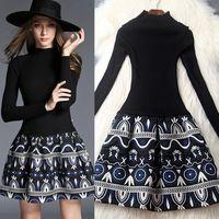 ÇARPıCı Yeni 2015 sonbahar kış kadın moda örme elbise uzun kollu patchwork jakarlı nakış balo mini elbiseler