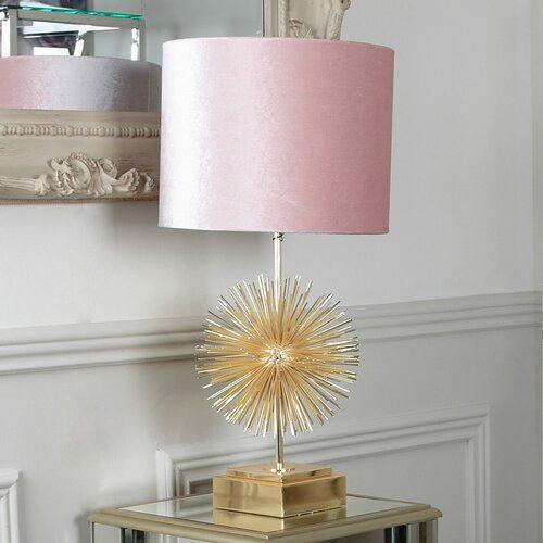 73 Cm Tischleuchte Cyril Canora Grey Farbe Goldfarbenes Lampengestell Lampenschirm In Rosa Lampentisch Tischlampen Lampe