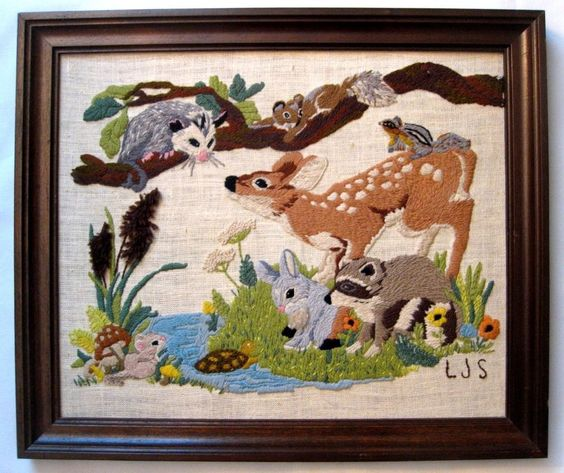 Vintage embroidery framed picture FOREST ANIMALS baby deer bambi BEAUTY nursery