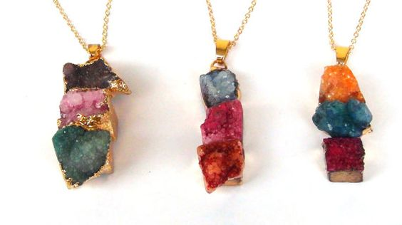 Druzy gold  Rectangle  Quartz Necklace   24k by Frammentidivetro