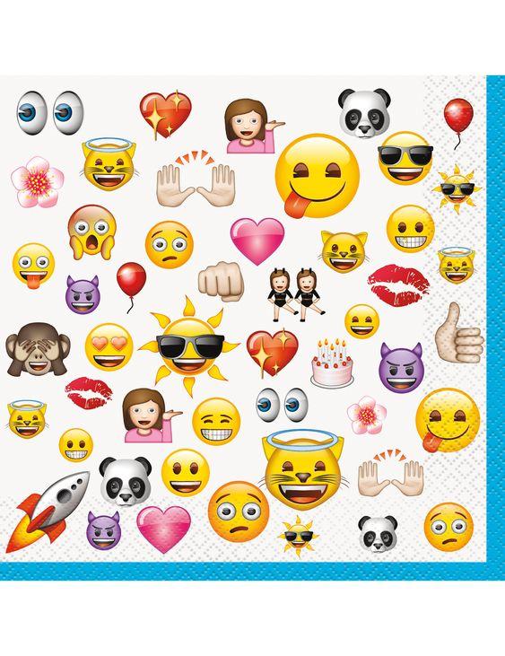 16 Servilletas grandes Emoji™: Este lote incluye 16 servilletas de papel con licencia oficialEmoji™.Abiertas…