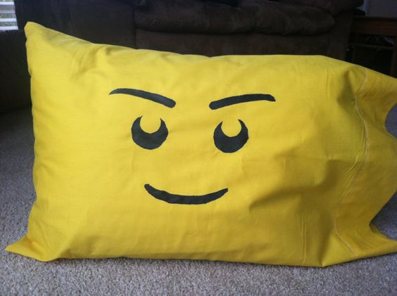 Yellow Lego Face Pillow Case by PracticalPassions on Etsy, $12.00