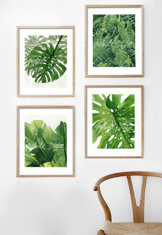 Tropical leaves illustration 01 water color art by WhiteVista: