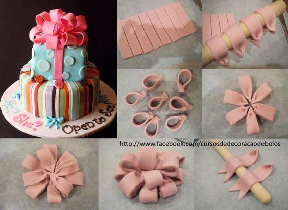 Large bows for parcels fondant tutorial