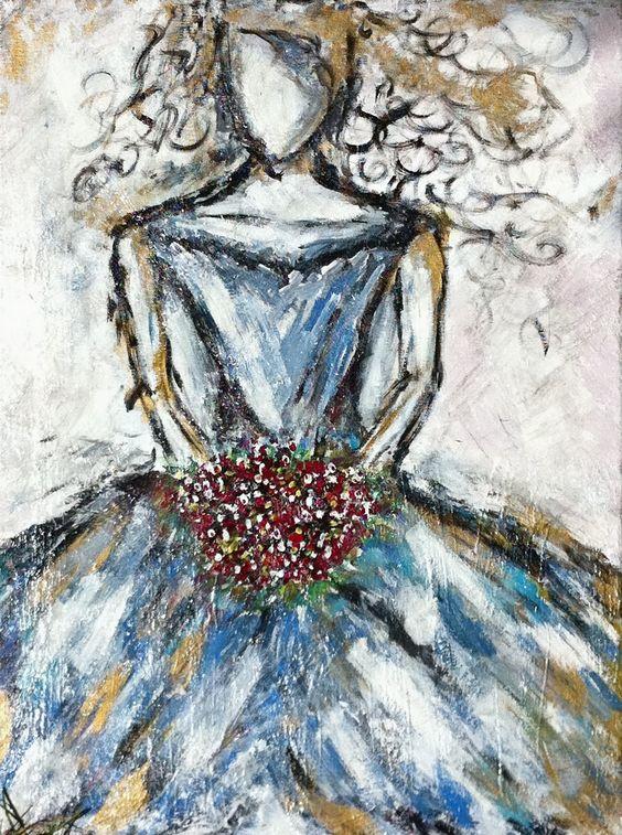 "Huile sur toile ""Le temps de Victoria"" de ZsaZsa Bellagio de Juin 2011"