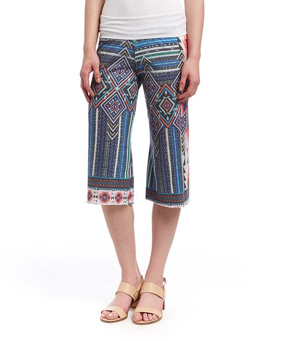 Love this Casa Lee Blue & Orange Tapestry Gaucho Pants by Casa Lee on #zulily! #zulilyfinds