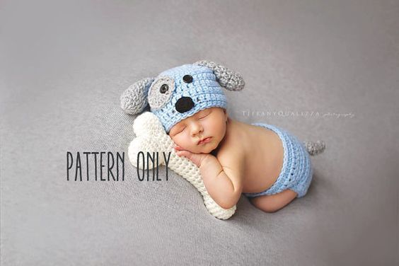 CROCHET PATTERN - Newborn Puppy hat and diaper cover and bone set, newborn photo prop set crochet pattern
