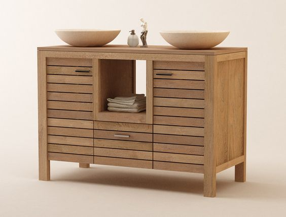 Muebles de Baños en Madera de Teca, Serie Lavamanos Dobles / Ignisterra  MAD...
