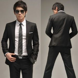 Men Full dress Casual Black Slim-fit Suit jacket | For HIM