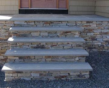 Stone front porch steps not the color new house for Blue stone home