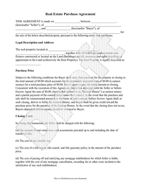 Real Estate Purchase Agreement Form Free Templates with Sample – Home Purchase Agreement Form Free
