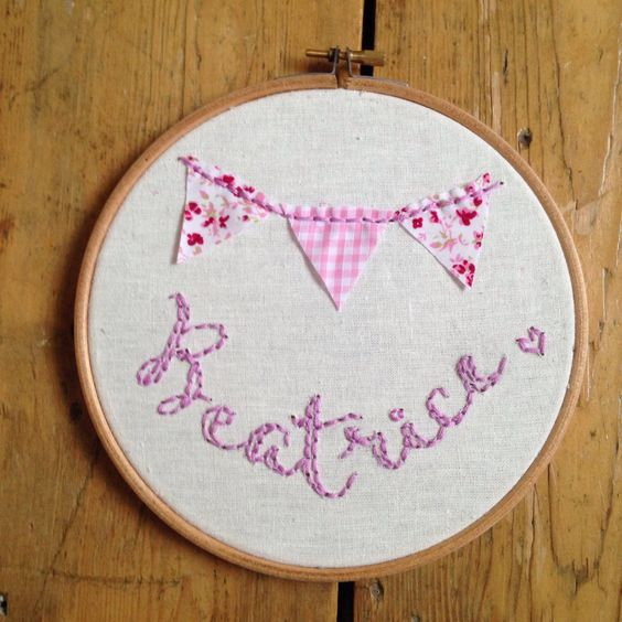 A personal favourite from my Etsy shop https://www.etsy.com/listing/227891393/personalised-name-embroidery-hoop-with
