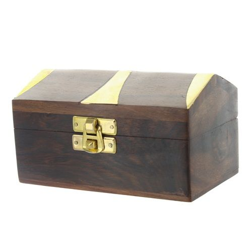 Hut Box with Brass Inlay £9.95   #box #wood #home