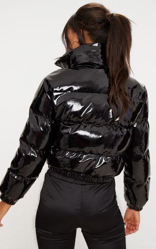 Black Cropped Vinyl Puffer Jacket Image 2 Black Puffer Jacket Bubble Jacket Outfit Girls Puffer Jacket