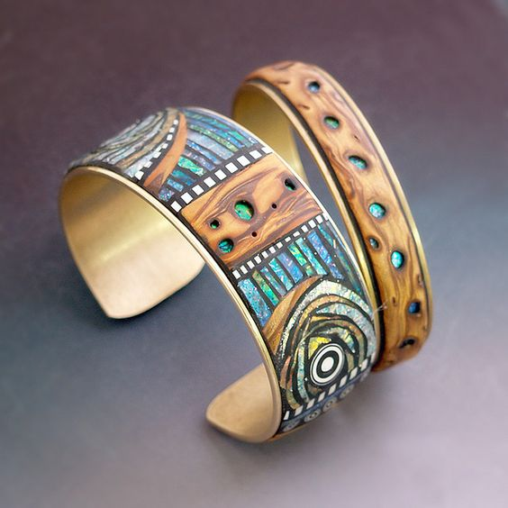"""Polymer clay with Iridescent mosaic inlay and faux burl wood on brass cuffs     Get funky with the quirky Zariin """"Whispering Woods"""" Blue Multicolored Stones Wooden Cuff Bracelet.Best deal here"""