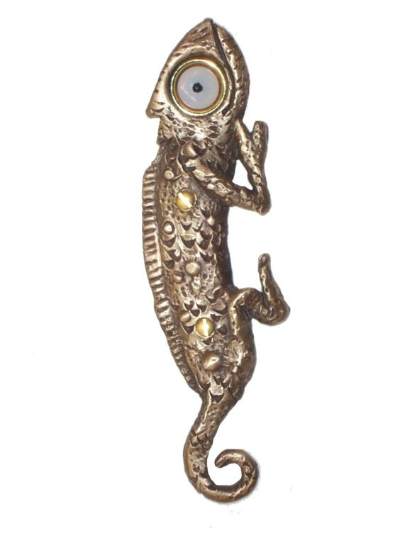 Chaz Chameleon Doorbell Cover by Rosalie Sherman. This doorbell cover is in the shape of a chameleon. It is cast in bronze and comes with a doorbell button
