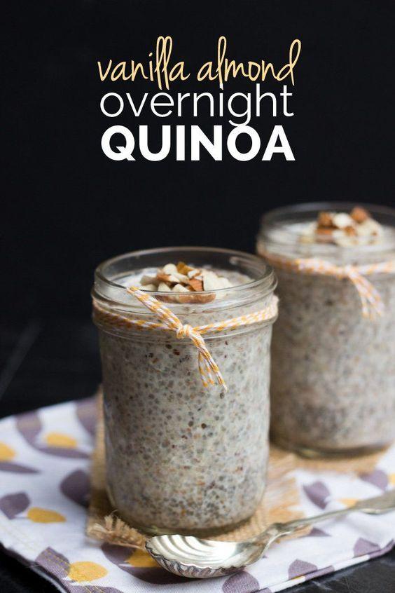Vanilla Almond Overnight Quinoa - gluten-free, vegan and sugar-free!                                                                                                                                                                                 More