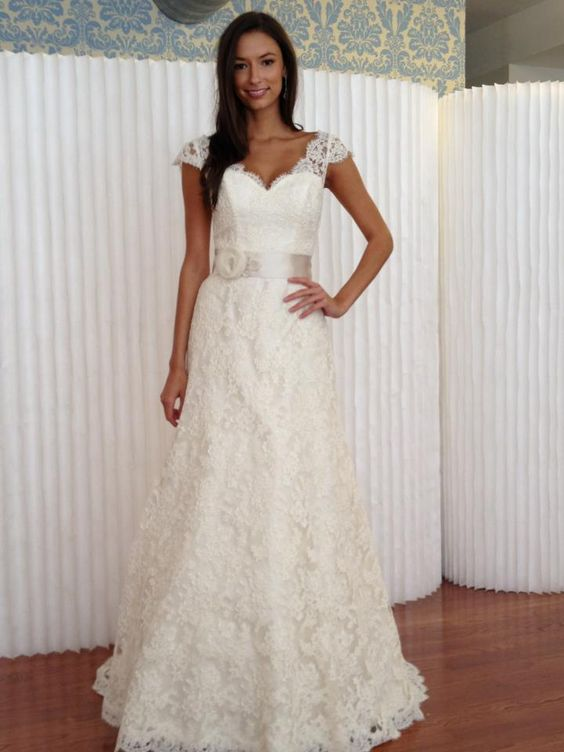 "French lace, classic ""honey"" gown from Modern Trousseau"