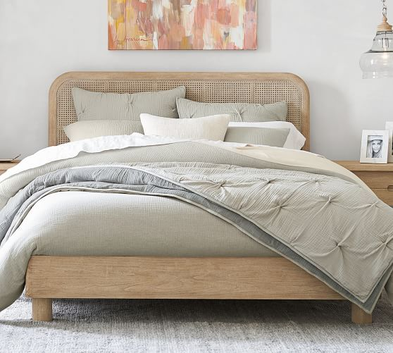 Beds Full Queen And King Beds Bed Frames Pottery Barn In 2020 Cane Bed Caned Headboard Platform Bed