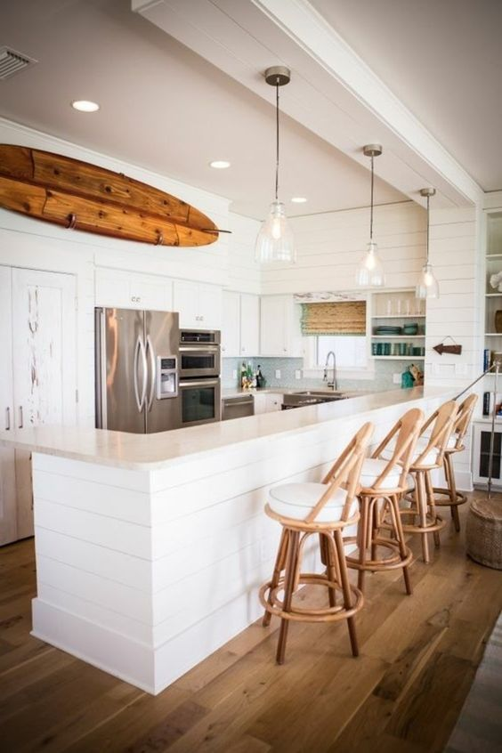 Offene Küche mit Marmor Boden eine skandinavische Einrichtung - marmorboden wohnzimmer