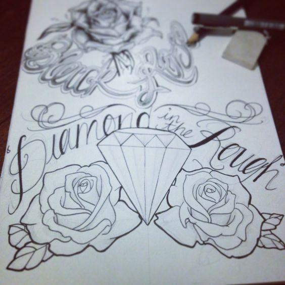 diamond in the rough tattoo diamond roses tattoed pinterest scarlett o 39 hara ink and. Black Bedroom Furniture Sets. Home Design Ideas