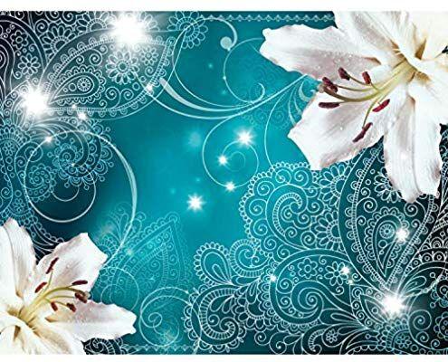 Fototapete Lilien Blumen Turkis Vlies Wand Tapete Wohnzimmer