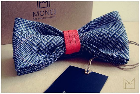 Blue Men's Bow Tie -FREE SHIPPING- Bowtie with Red Genuine Leather - Handmade Wool Bowtie - Luxury Handmade Mens Gift - Pre-Tied - Vintage