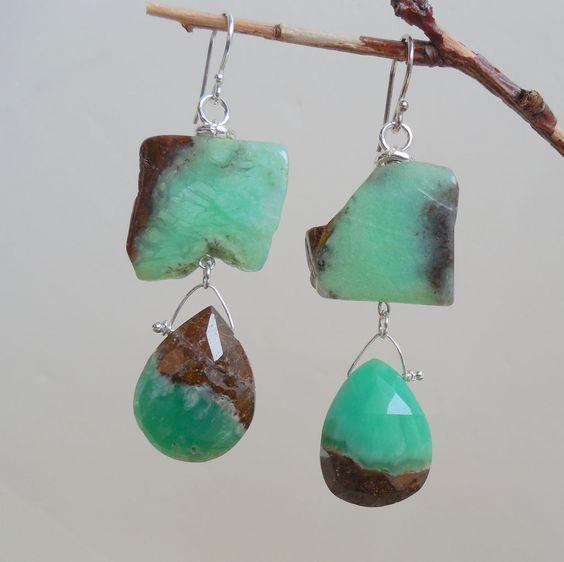 Chrysoprase Green Boulder Double Drop Earrings from gemlynn on Ruby ...